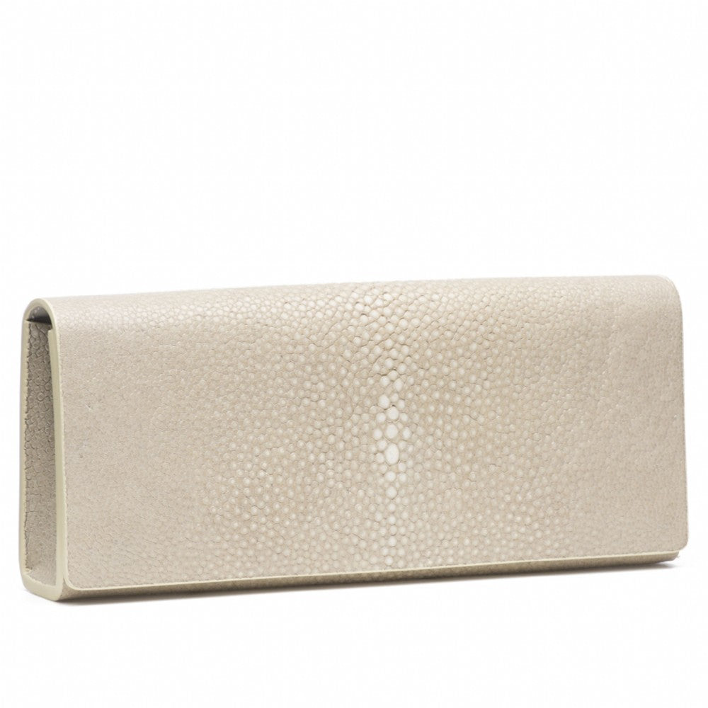 Wheat Shagreen Clutch Bag Front View Cleo - Vivo Direct