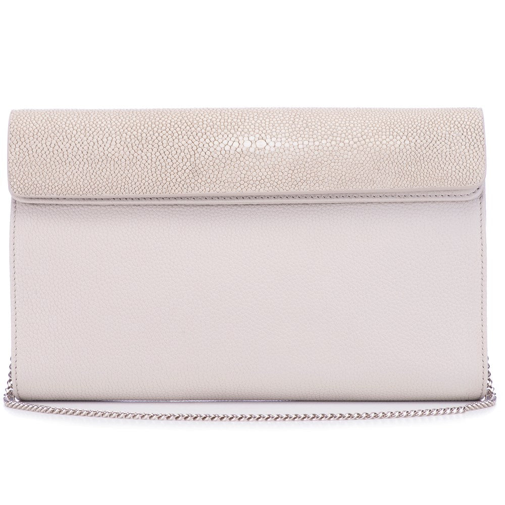 Cement Shagreen Ecru Leather Body Detachable Chain Holly Oversize Clutch Front View - Vivo Direct