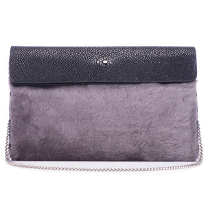 Black Shagreen Dark Gray Shearling Body Detachable Chain Holly Oversize Clutch Front View - Vivo Direct