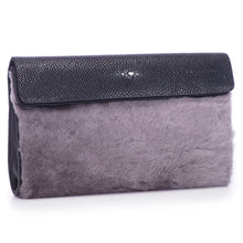 Load image into Gallery viewer, Black Shagreen Dark Gray Shearling Body Detachable Chain Holly Oversize Clutch Front Side View - Vivo Direct