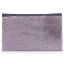 Load image into Gallery viewer, Black Shagreen Dark Gray Shearling Body Detachable Chain Holly Oversize Clutch Back View - Vivo Direct