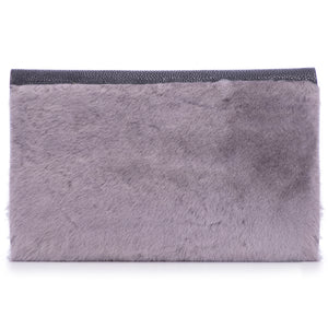Black Shagreen Dark Gray Shearling Body Detachable Chain Holly Oversize Clutch Back View - Vivo Direct