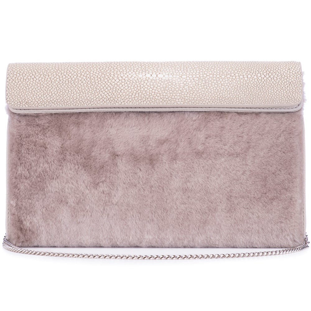 Cement Shagreen Light Gray Shearling Body Detachable Chain Holly Oversize Clutch Front View - Vivo Direct