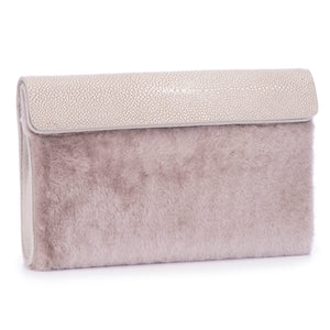 Cement Shagreen Light Gray Shearling Body Detachable Chain Holly Oversize Clutch Front Side View - Vivo Direct