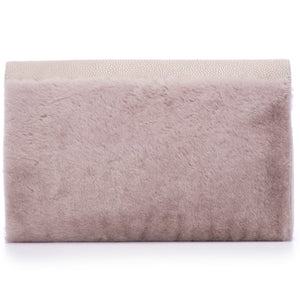 Cement Shagreen Light Gray Shearling Body Detachable Chain Holly Oversize Clutch BackView - Vivo Direct