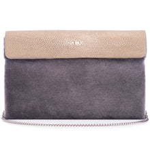 Load image into Gallery viewer, Taupe Shagreen Warm Gray Shearling Body Detachable Chain Holly Oversize Clutch Front View - Vivo Direct
