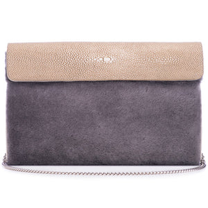 Taupe Shagreen Warm Gray Shearling Body Detachable Chain Holly Oversize Clutch Front View - Vivo Direct