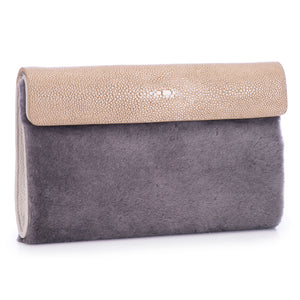 Taupe Shagreen Warm Gray Shearling Body Detachable Chain Holly Oversize Clutch Front Side View - Vivo Direct