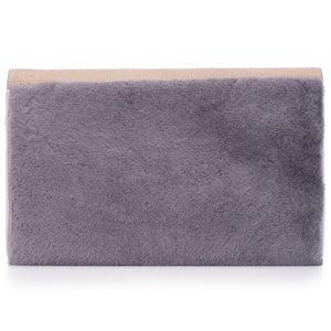 Taupe Shagreen Warm Gray Shearling Body Detachable Chain Holly Oversize Clutch Back View - Vivo Direct