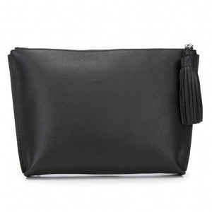 Black Leather Zip Top Pouch With Shagreen Wrap Tassel  Front View Jen - Vivo Direct