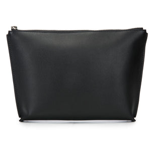 Black Leather Zip Top Pouch With Shagreen Wrap Tassel  Back View Jen - Vivo Direct