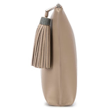 Load image into Gallery viewer, Buff Leather Zip Top Pouch With Shagreen Wrap Tassel  Side View Jen - Vivo Direct