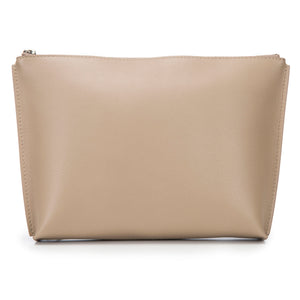 Buff Leather Zip Top Pouch With Shagreen Wrap Tassel Back View Jen - Vivo Direct