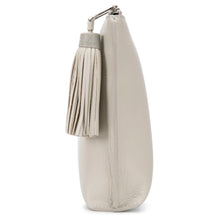Load image into Gallery viewer, Ecru Leather Zip Top Pouch With Shagreen Wrap Tassel  Side View Jen - Vivo Direct
