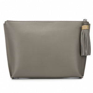 Smoke Leather Zip Top Pouch With Shagreen Wrap Tassel  Front View Jen - Vivo Direct