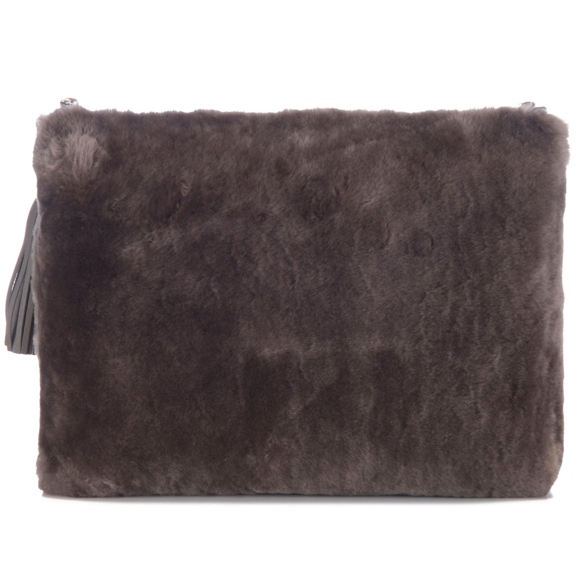 Taupe Shearling Zip Top Pouch With Shagreen Wrap Tassel  Back View Jen - Vivo Direct