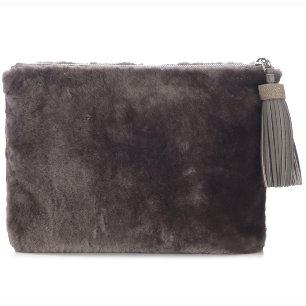 Taupe Shearling Zip Top Pouch With Shagreen Wrap Tassel  Front View Jen - Vivo Direct