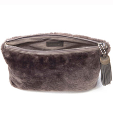 Load image into Gallery viewer, Taupe Shearling Zip Top Pouch With Shagreen Wrap Tassel  Inside View Jen - Vivo Direct