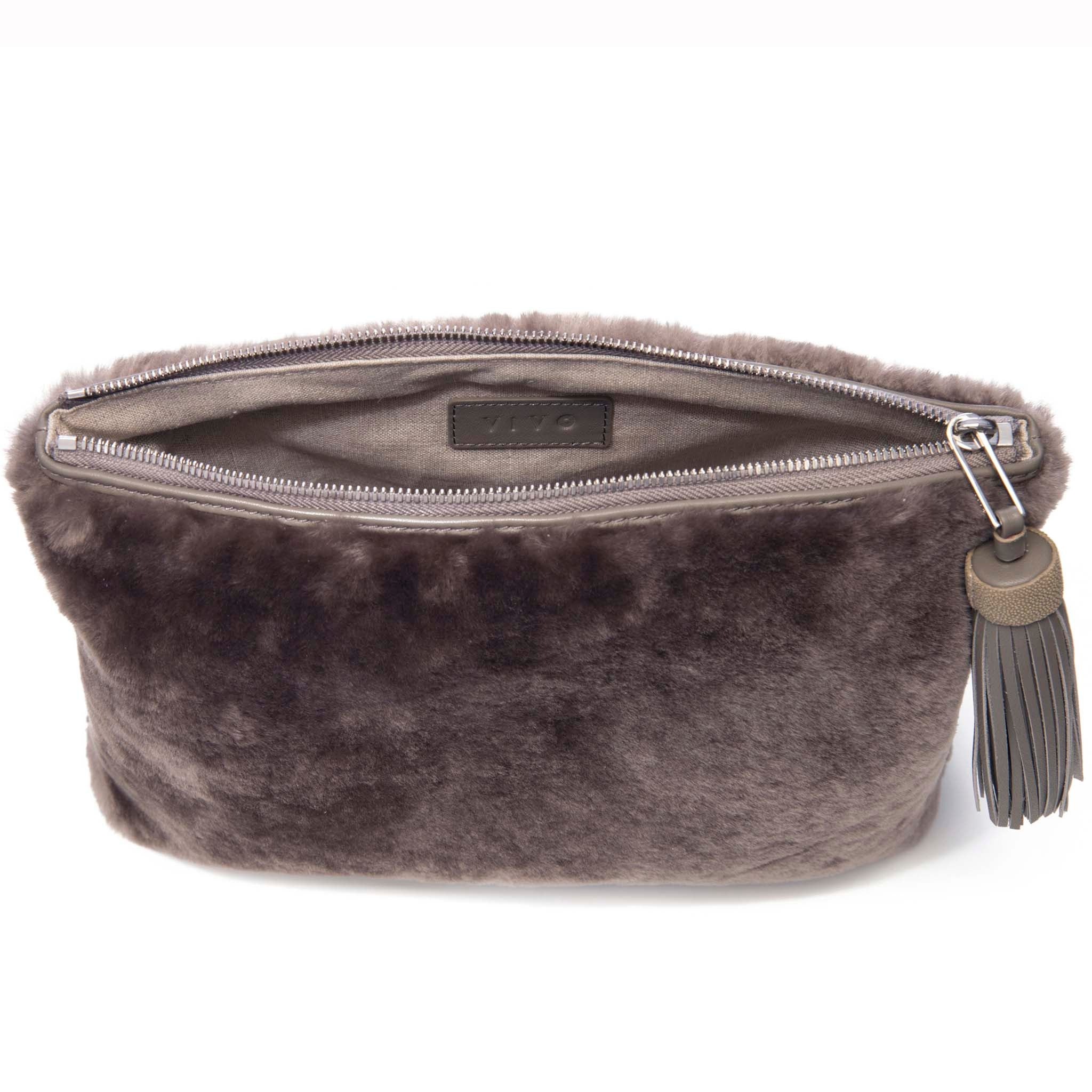 Taupe Shearling Zip Top Pouch With Shagreen Wrap Tassel  Inside View Jen - Vivo Direct