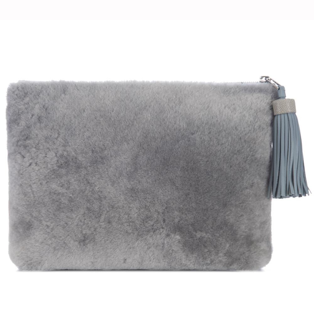 Gray Shearling Zip Top Pouch With Shagreen Wrap Tassel  Front View Jen - Vivo Direct