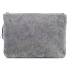 Load image into Gallery viewer, Gray Shearling Zip Top Pouch With Shagreen Wrap Tassel Back View Jen - Vivo Direct