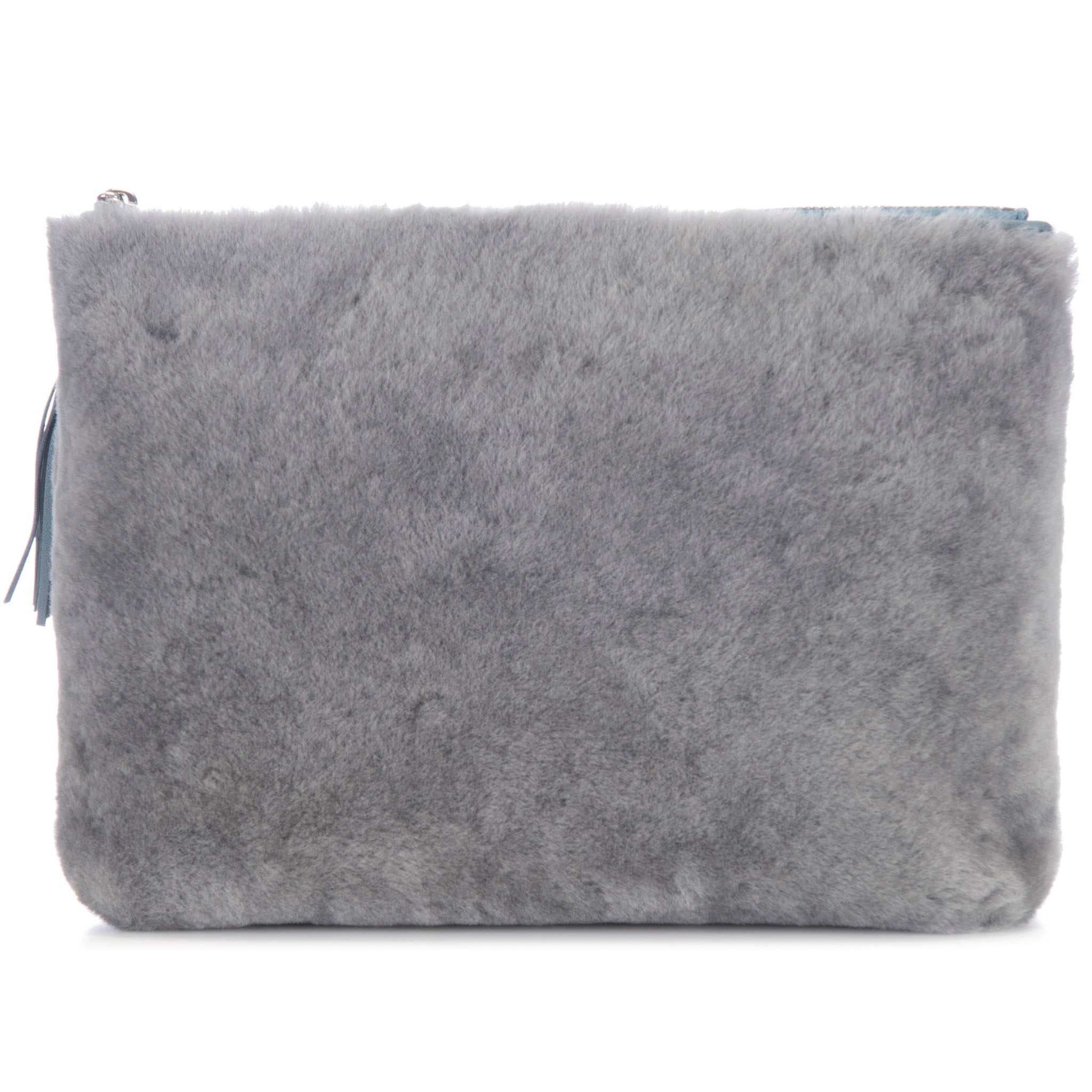 Gray Shearling Zip Top Pouch With Shagreen Wrap Tassel Back View Jen - Vivo Direct