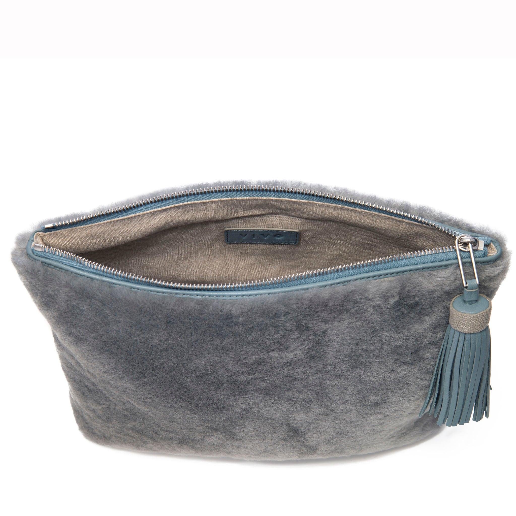 Gray Shearling Zip Top Pouch With Shagreen Wrap Tassel  Inside View Jen - Vivo Direct
