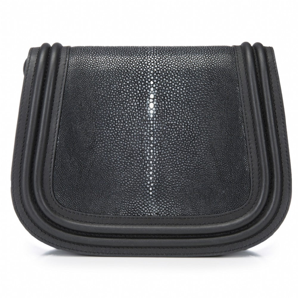 Black Corded Leather Framing Shagreen Front Panel Saddle Bag Front View Hazel - Vivo Direct