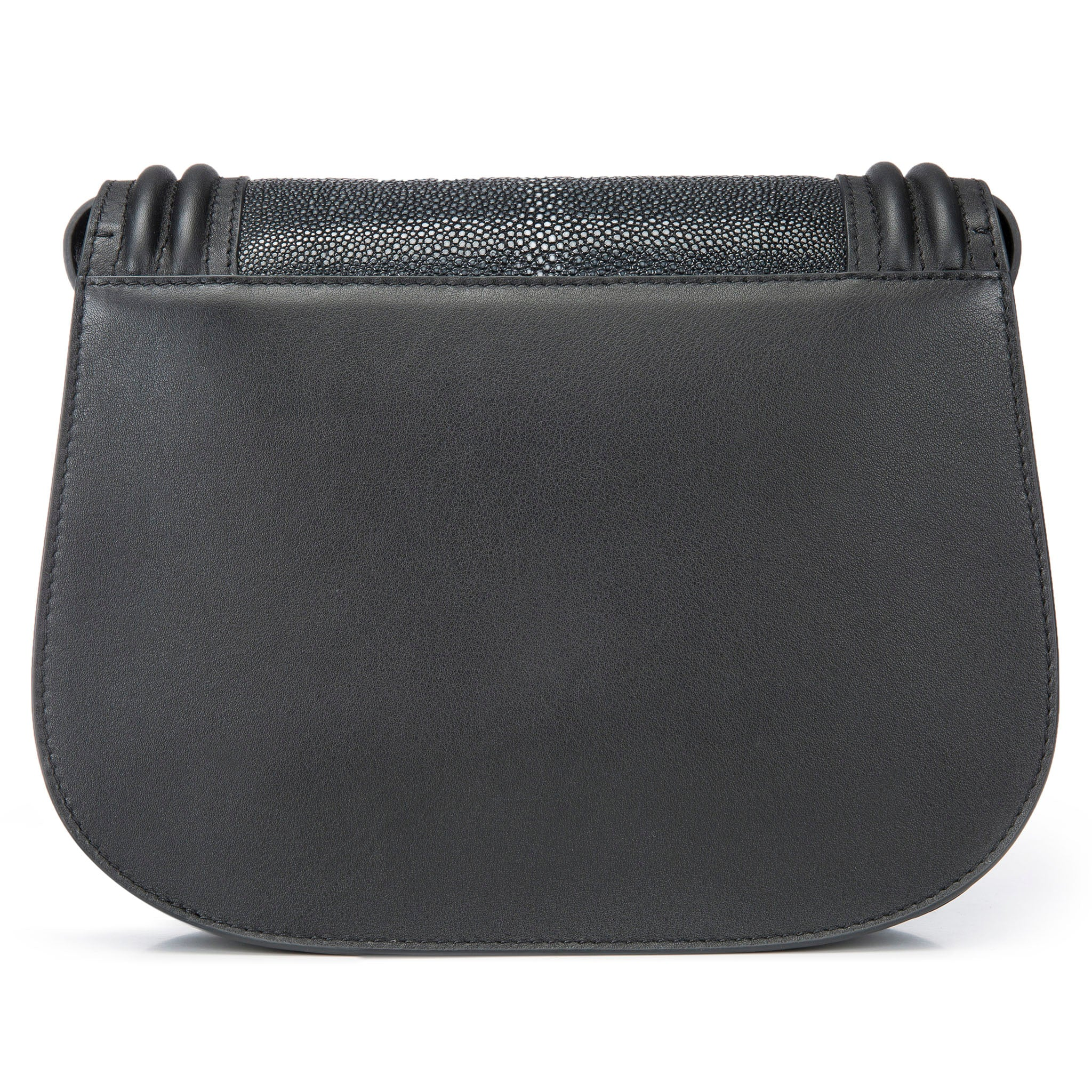 Black Corded Leather Framing Shagreen Front Panel Saddle Bag Back View Hazel - Vivo Direct