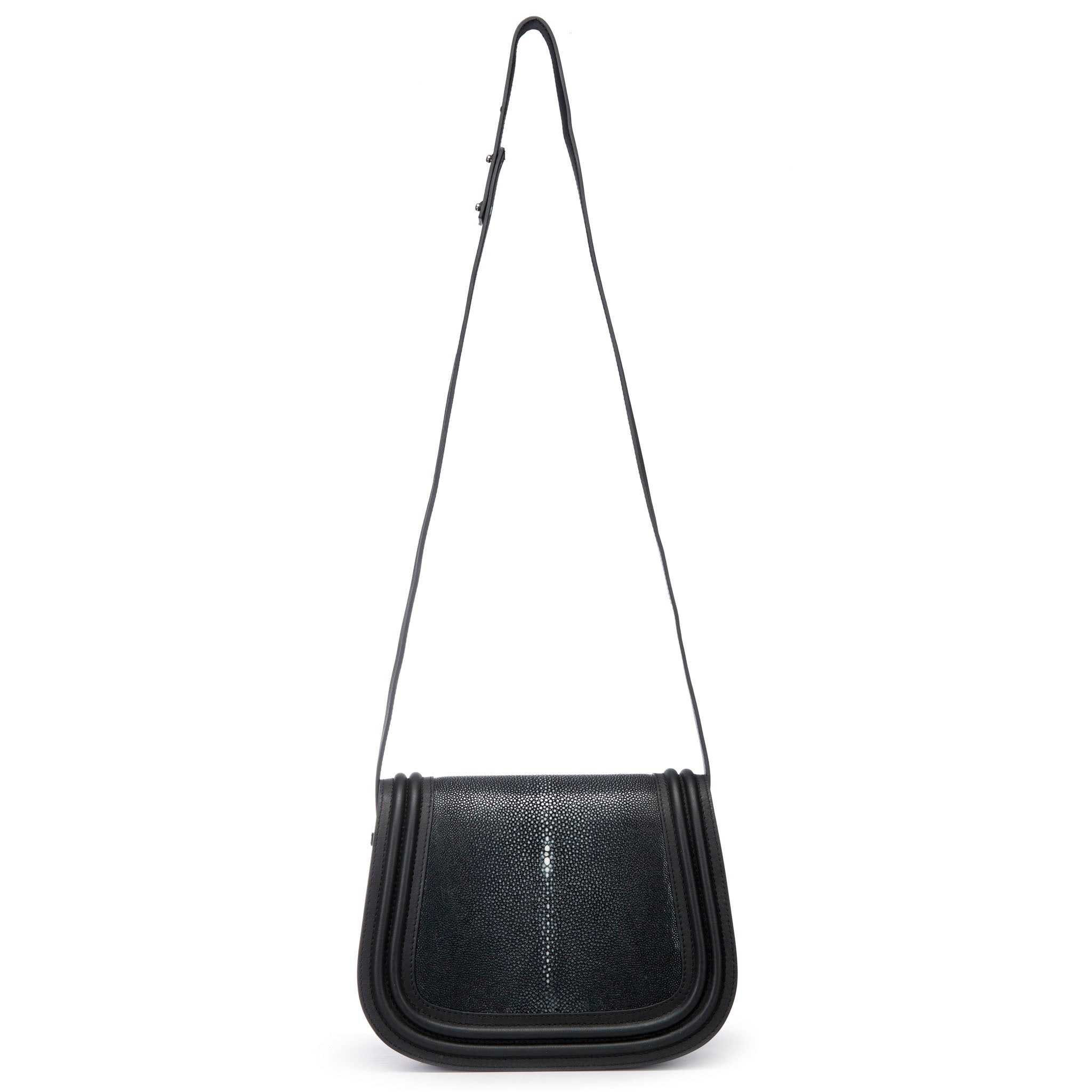 Black Corded Leather Framing Shagreen Shoulder Strap Panel Saddle Bag Front View Hazel - Vivo Direct