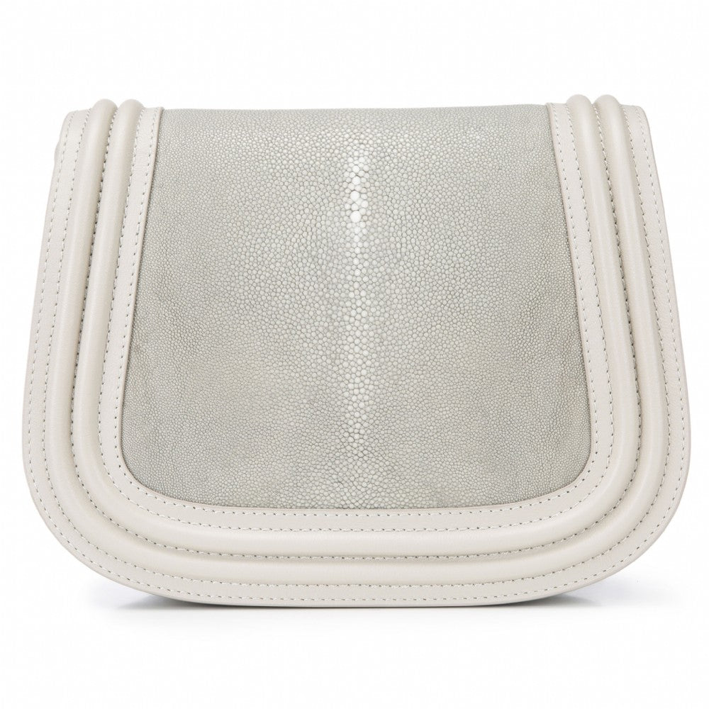 Ecru Corded Leather Framing Shagreen Front Panel Saddle Bag Front View Hazel - Vivo Direct