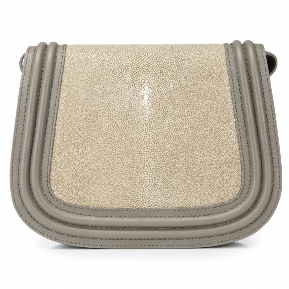 Smoke Corded Leather Framing Shagreen Front Panel Saddle Bag Front View Hazel - Vivo Direct