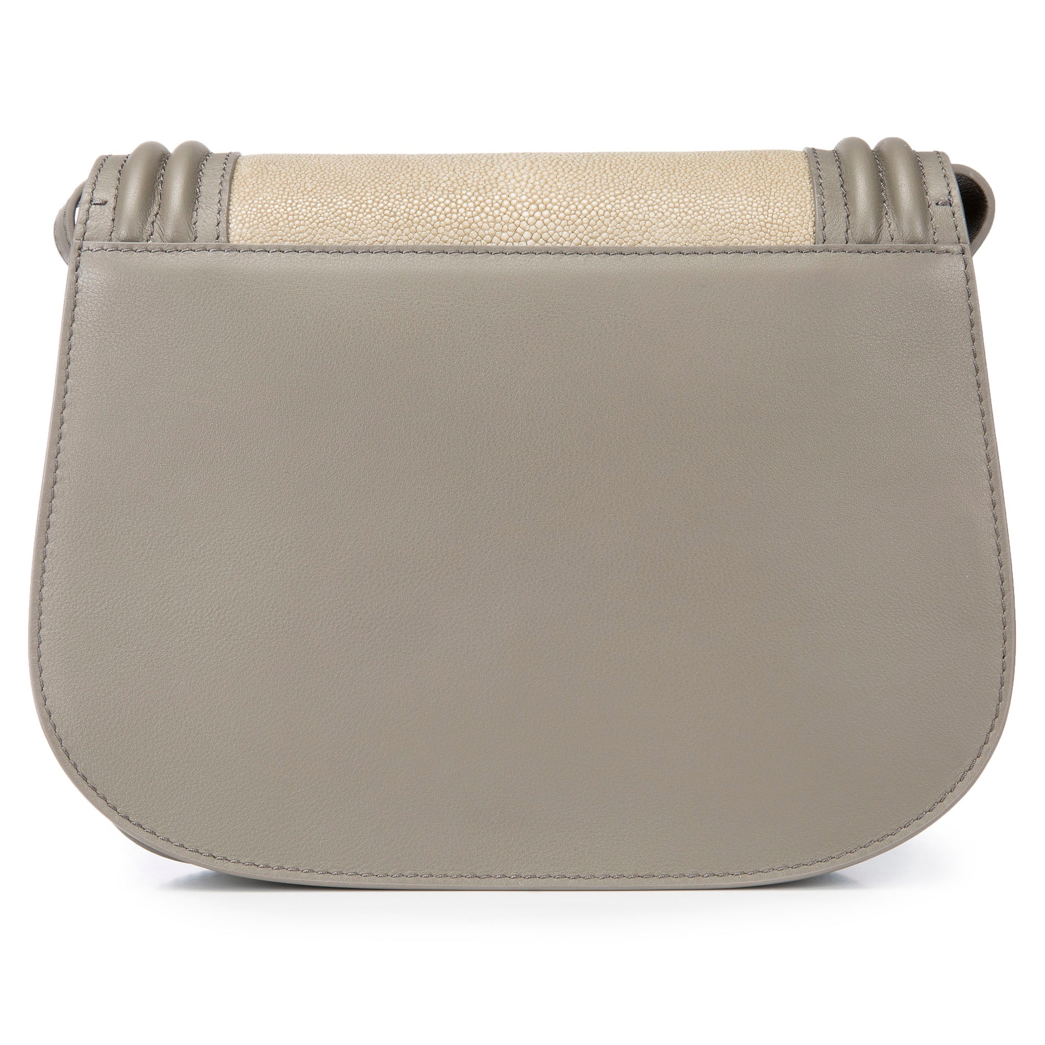 Smoke Corded Leather Framing Shagreen Front Panel Saddle Bag Back View Hazel - Vivo Direct