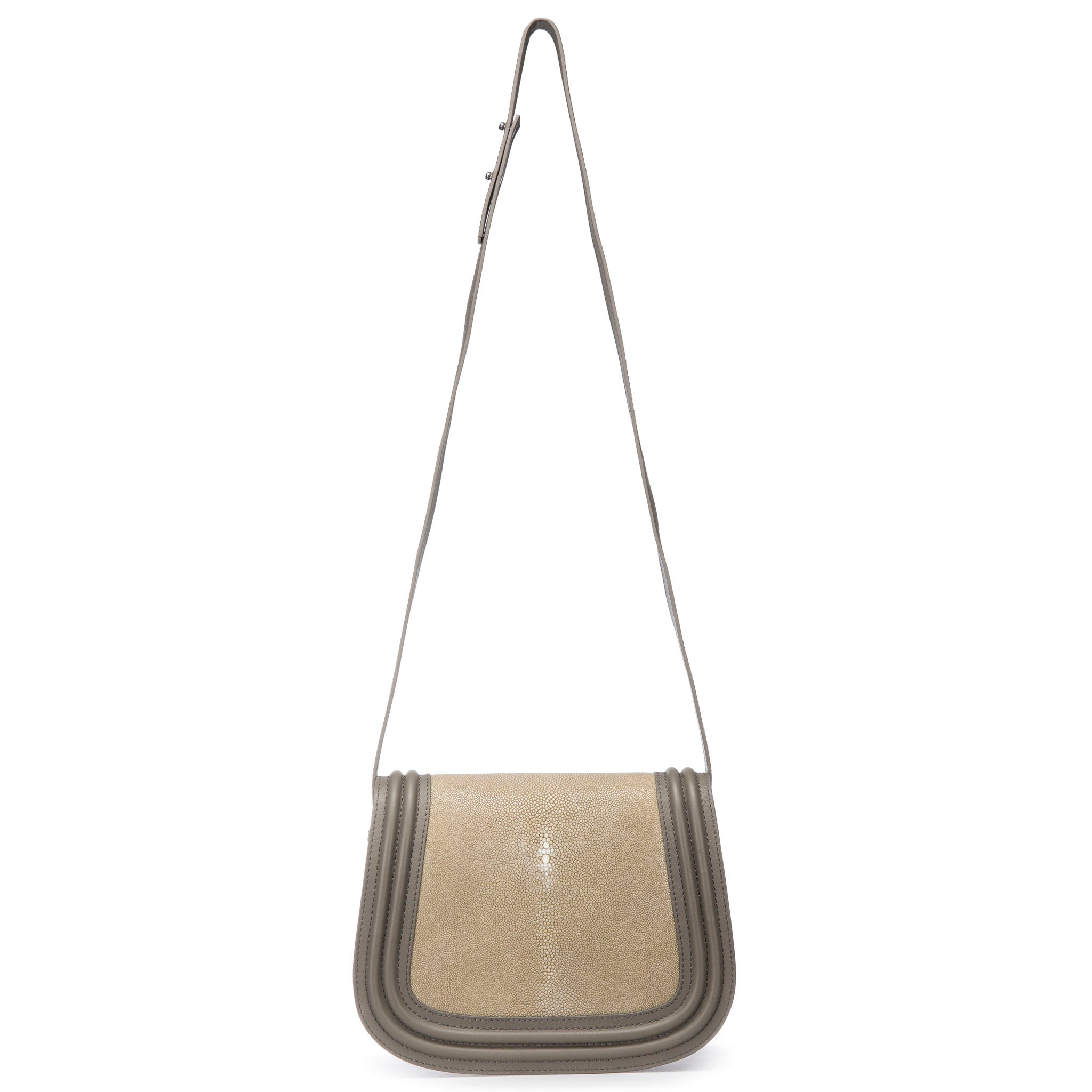 Smoke Corded Leather Framing Shagreen Front Panel Saddle Bag Shoulder Strap View Hazel - Vivo Direct