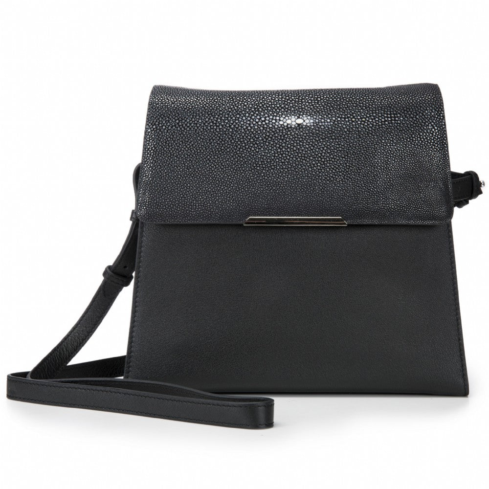 Modern Classic Crossbody Bag Black Shagreen Top And Black Leather Body Front View Jacq - Vivo Direct