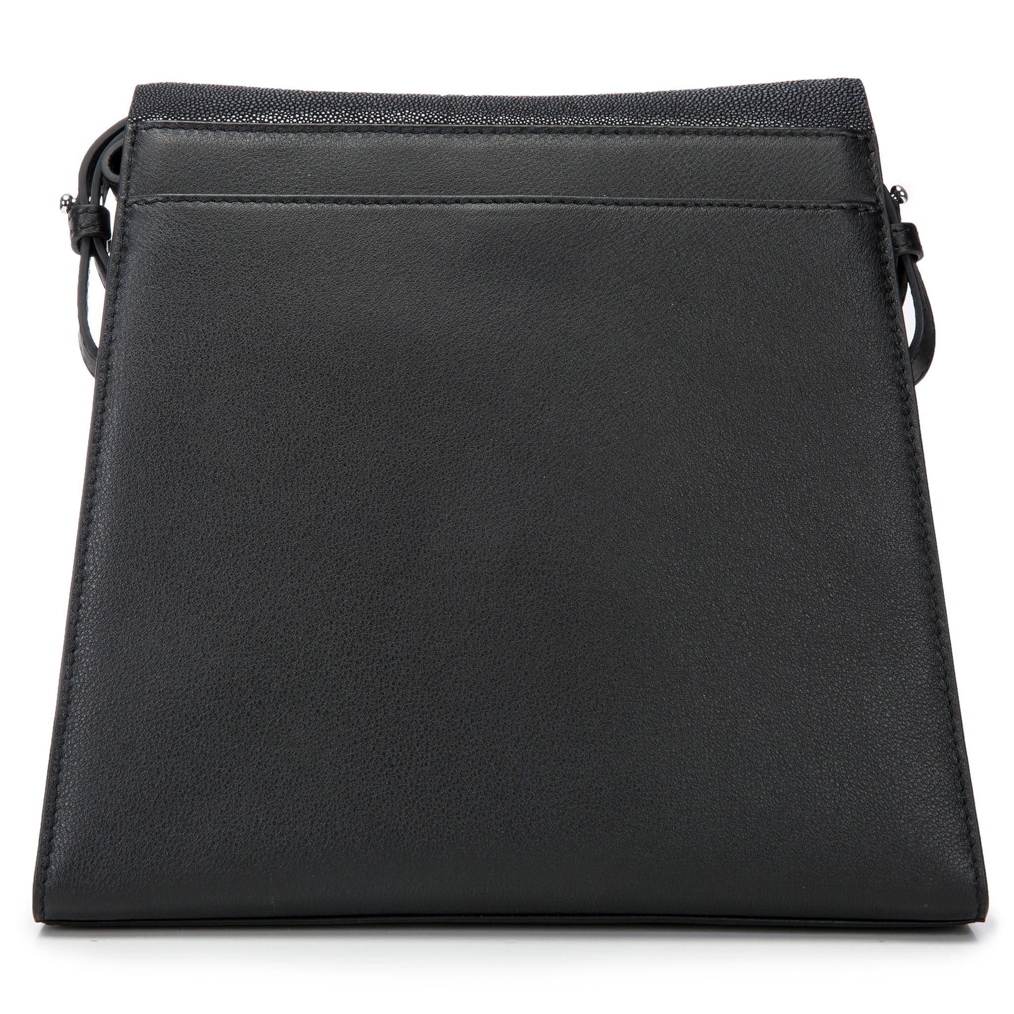 Modern Classic Crossbody Bag Black Shagreen Top And Black Leather Body Back View Jacq - Vivo Direct