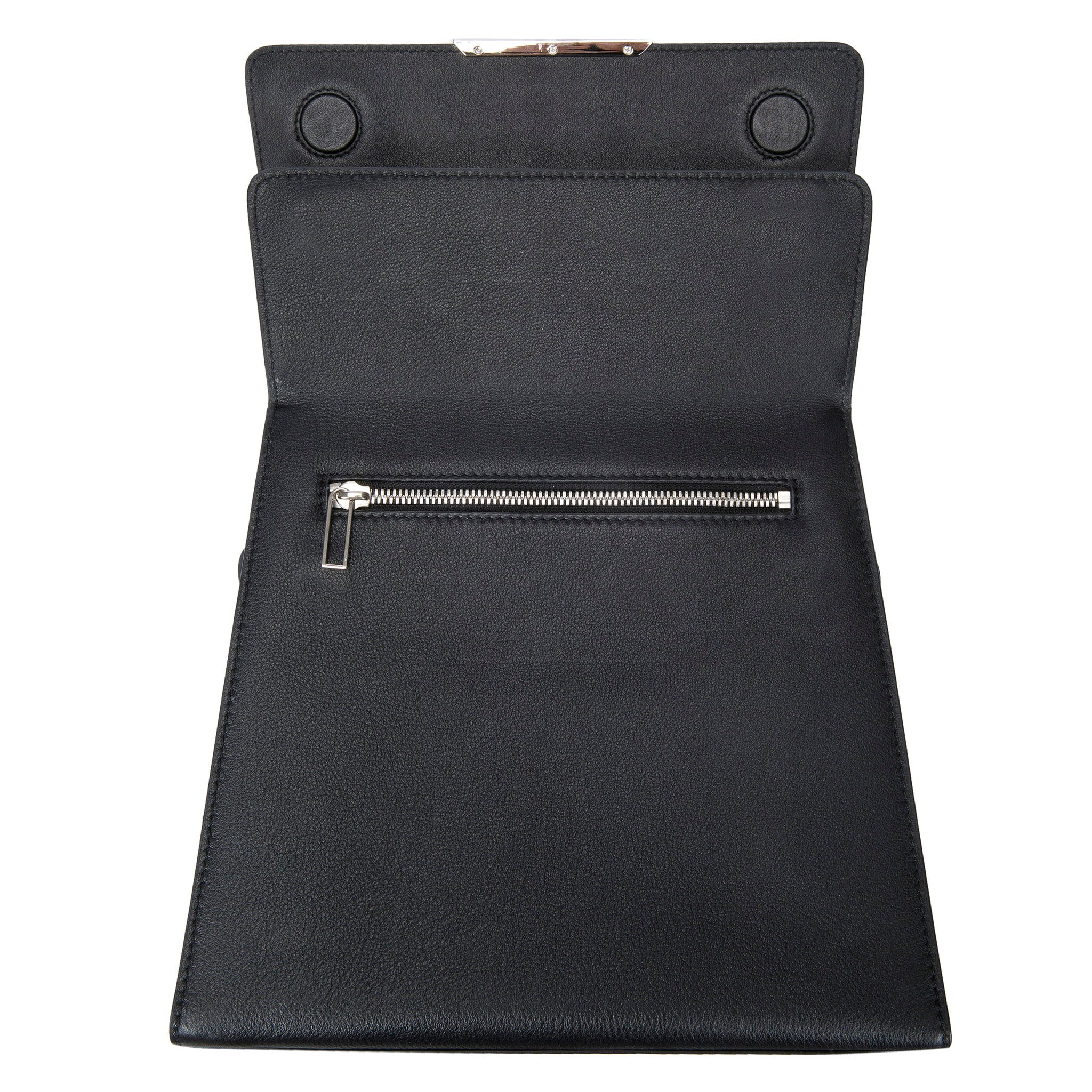 Modern Classic Crossbody Bag Black Shagreen Top And Black Leather Body Front Open View Jacq - Vivo Direct