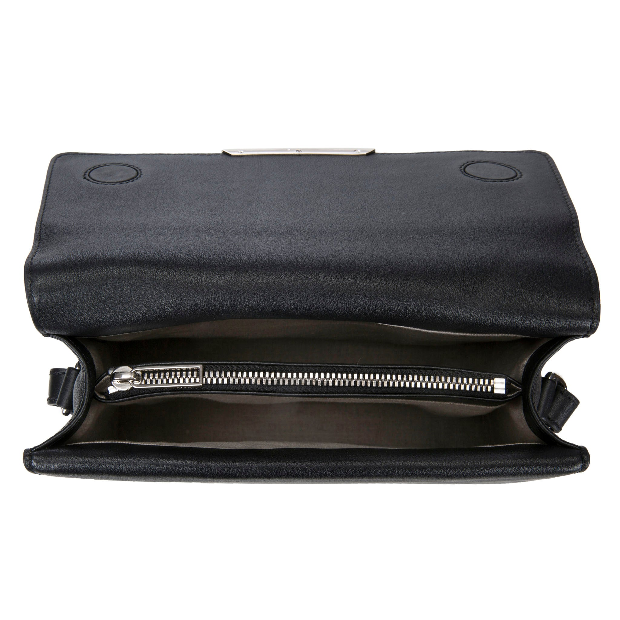 Modern Classic Crossbody Bag Black Shagreen Top And Black Leather Body Inside View Jacq - Vivo Direct