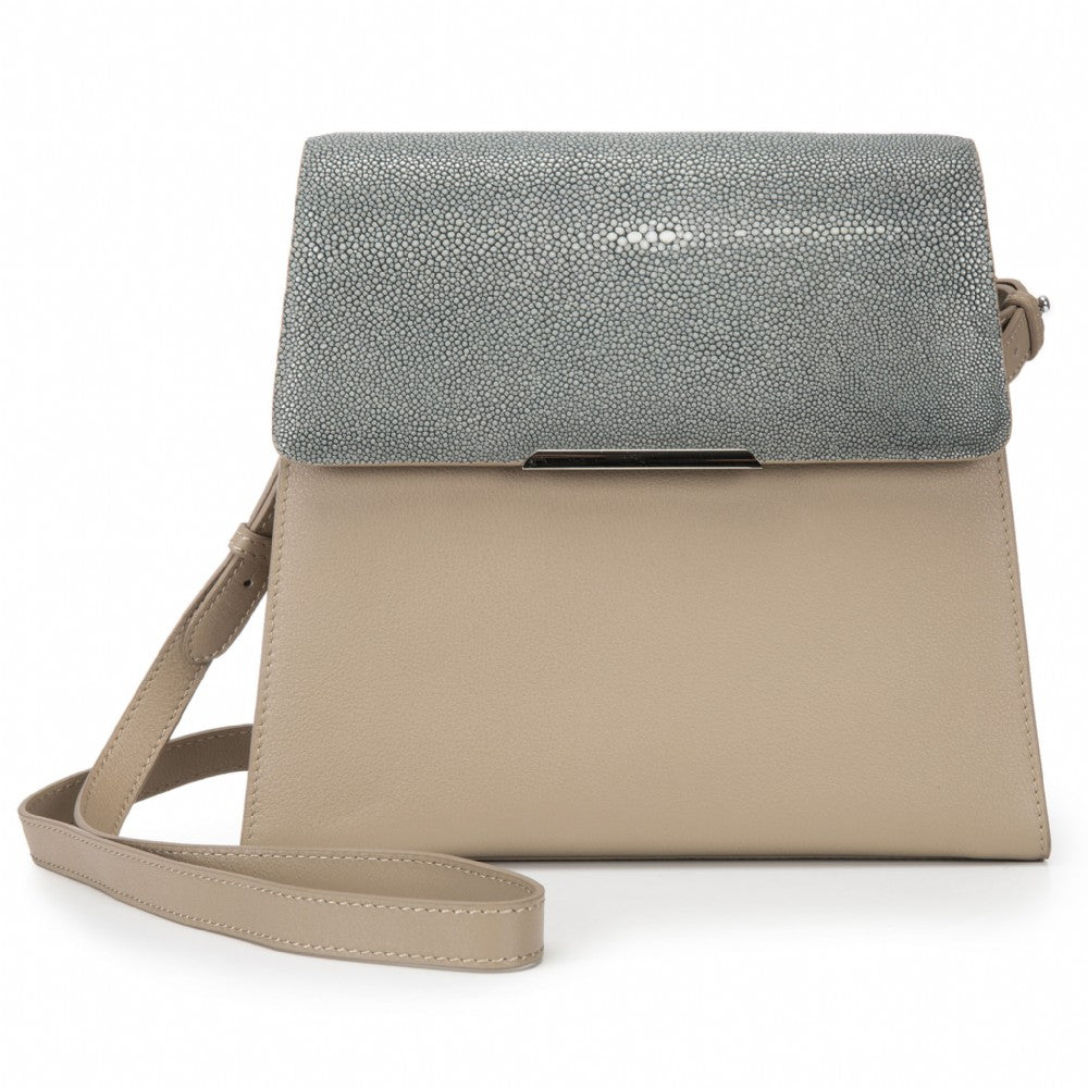 Modern Classic Crossbody Bag Gray Shagreen Top And Buff Leather Body Front View Jacq - Vivo Direct