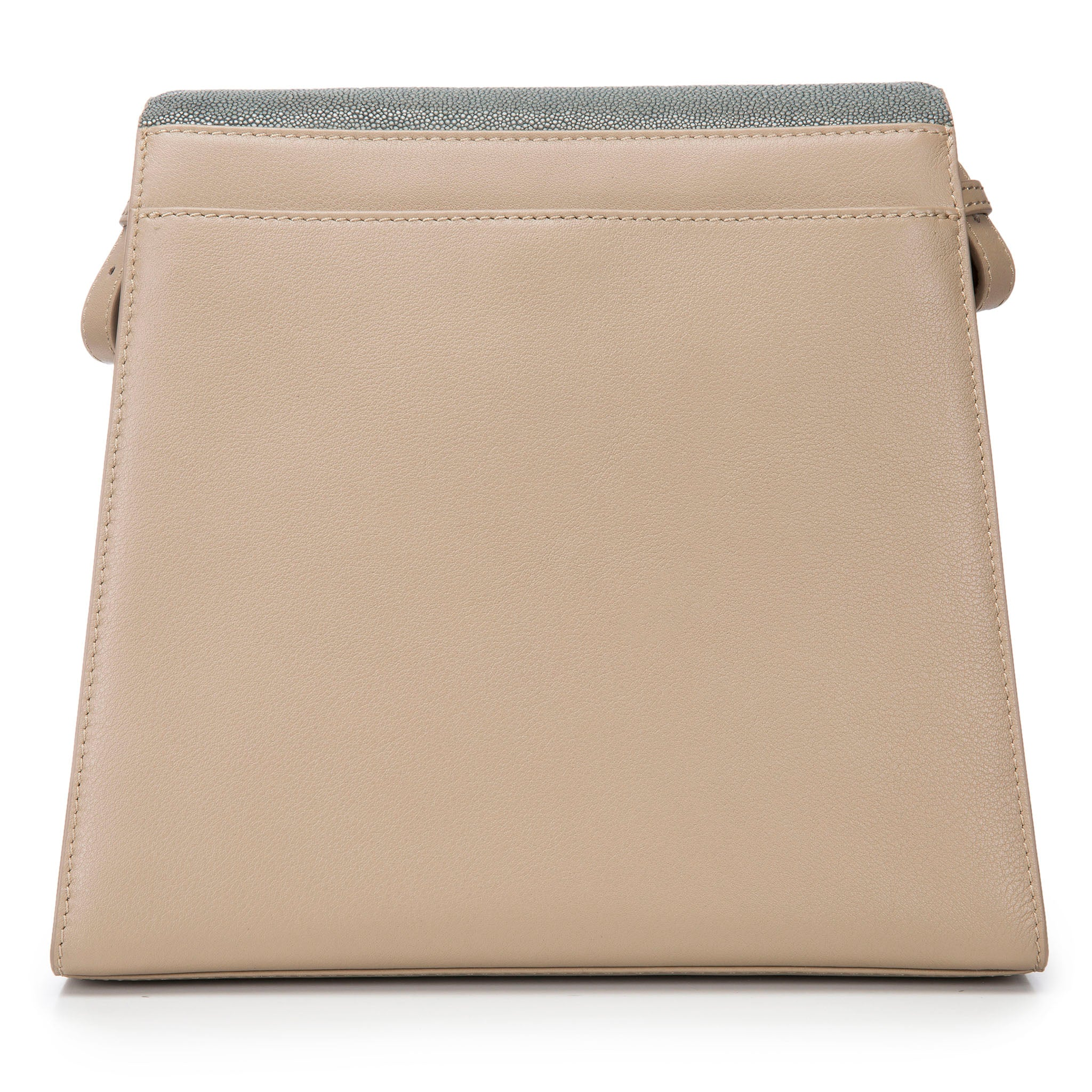 Modern Classic Crossbody Bag Gray Shagreen Top And Buff Leather Body Back View Jacq - Vivo Direct