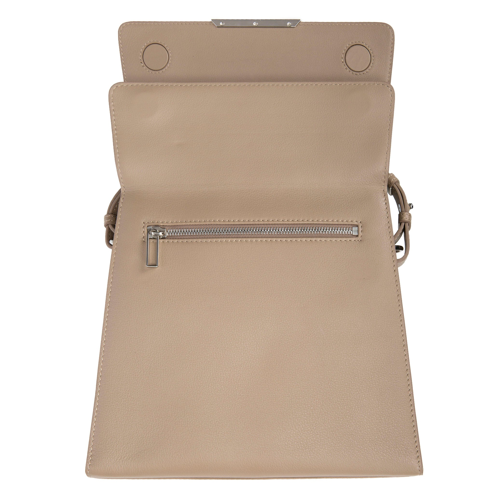 Modern Classic Crossbody Bag Gray Shagreen Top And Buff Leather Body Front Open View Jacq - Vivo Direct