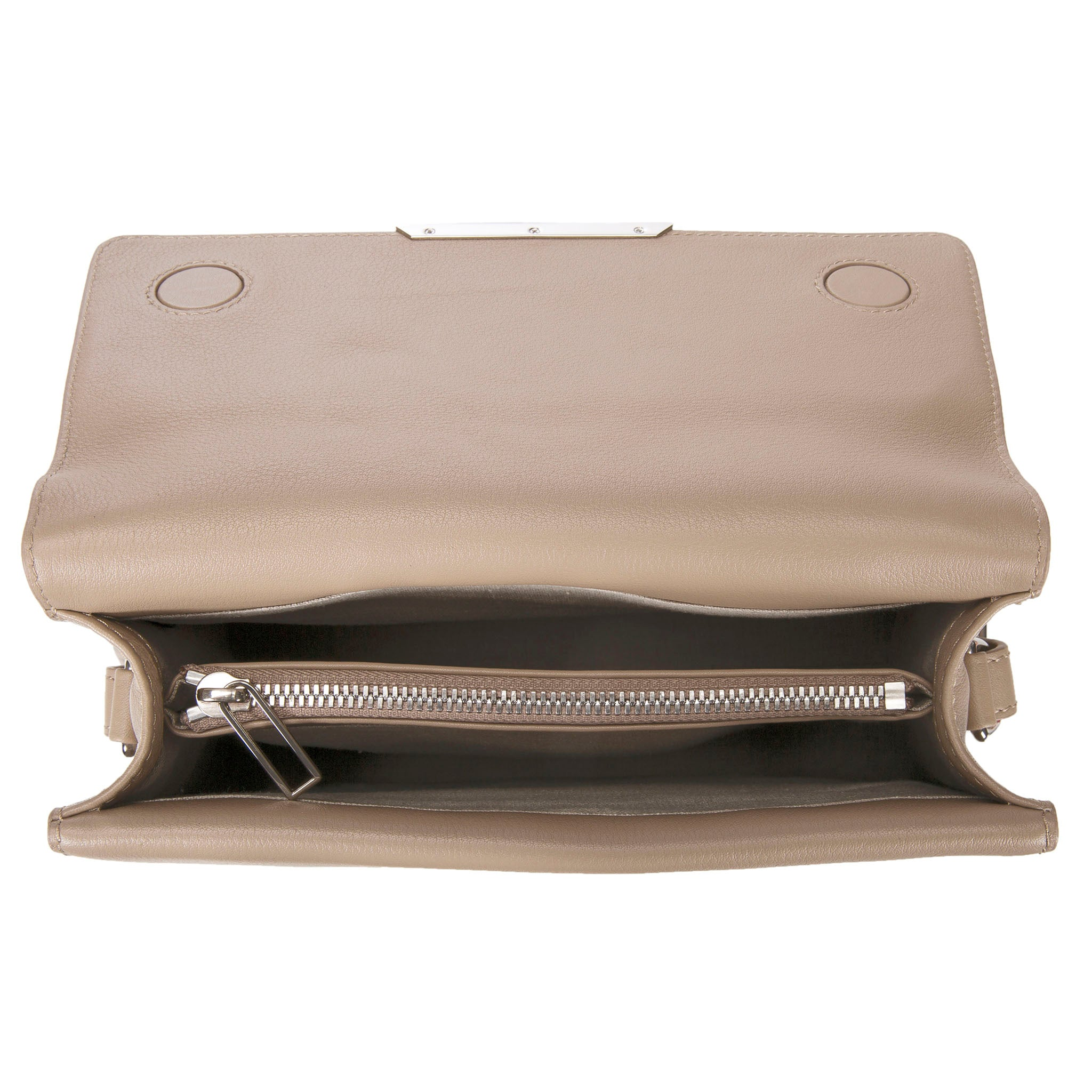 Modern Classic Crossbody Bag Gray Shagreen Top And Buff Leather Body Inside View Jacq - Vivo Direct