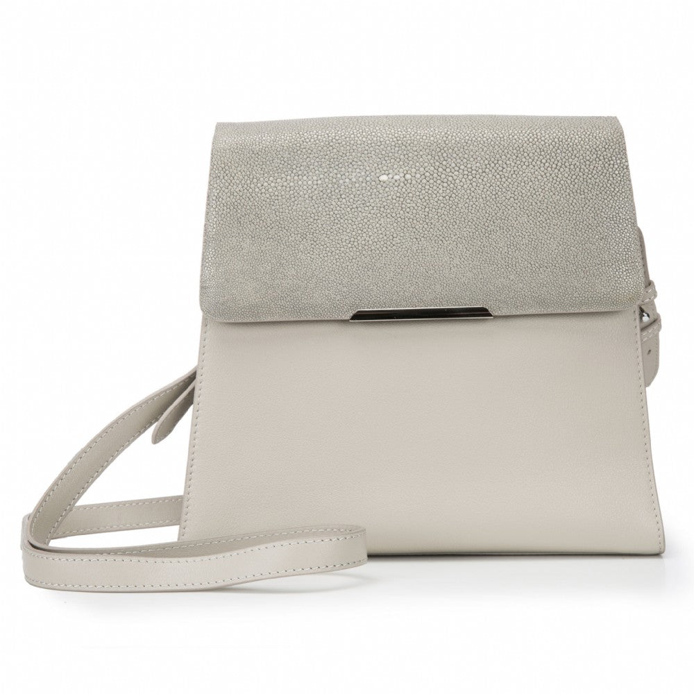 Modern Classic Crossbody Bag Cement Shagreen Top And Ecru Leather Body Front View Jacq - Vivo Direct