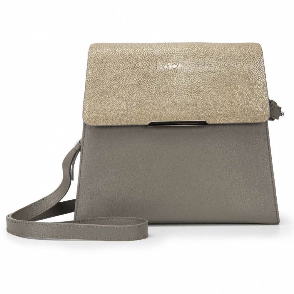 Modern Classic Crossbody Bag Taupe Shagreen Top And Smoke Leather Body Front View Jacq - Vivo Direct