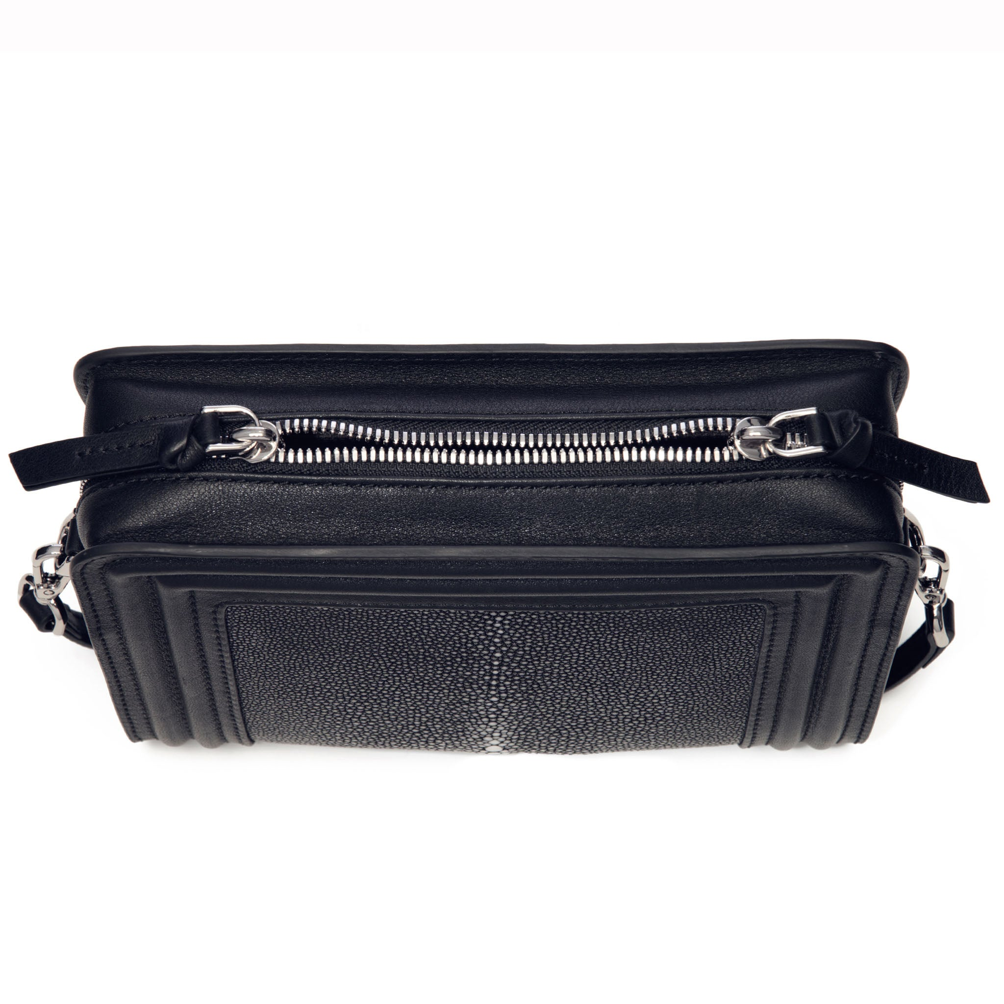 Black Corded Leather Frames Black Stingray Double Zipper Top Cross Body Bag Top View Nora - Vivo Direct