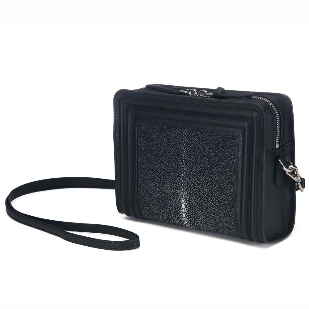 Black Corded Leather Frames Black Stingray Double Zipper Top Cross Body Bag Front View Nora - Vivo Direct