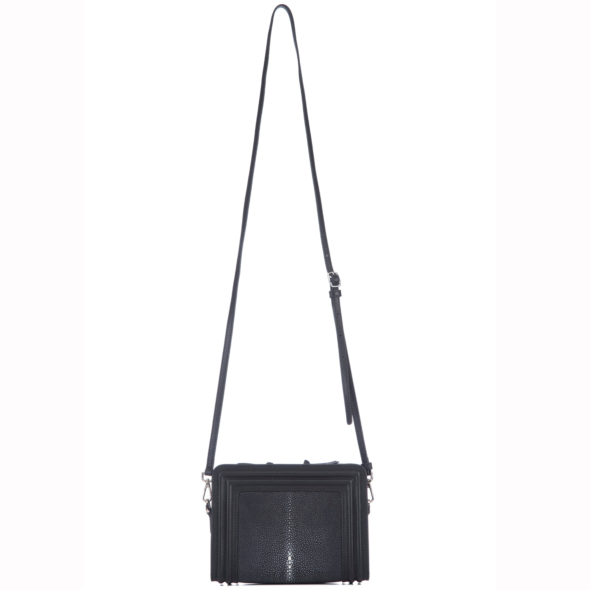 Black Corded Leather Frames Black Stingray Double Zipper Top Cross Body Bag Shoulder Strap View Nora - Vivo Direct