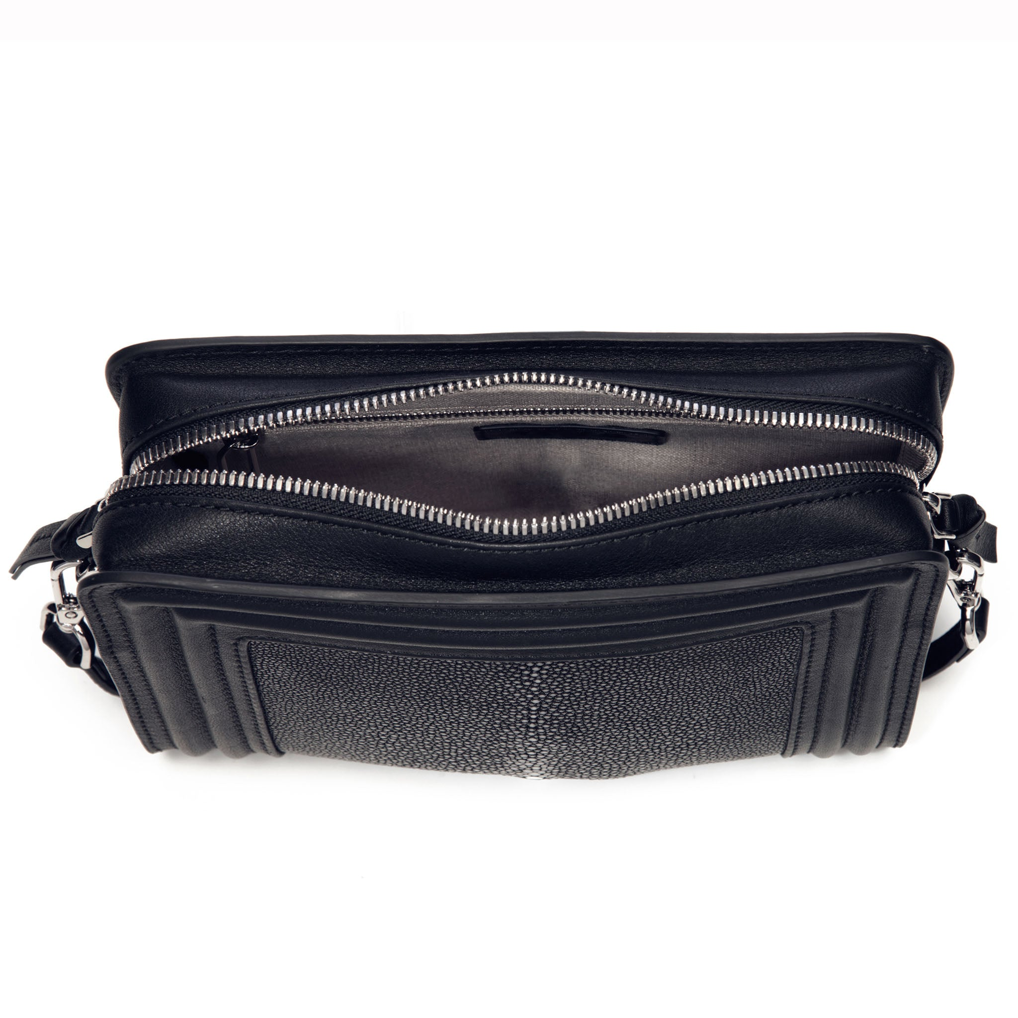 Black Corded Leather Frames Black Stingray Double Zipper Top Cross Body Bag Inside View Nora - Vivo Direct