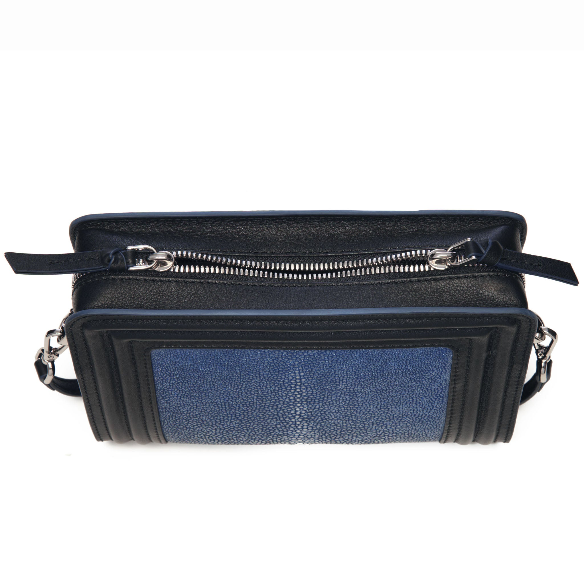 Black Corded Leather Frames Navy Stingray Double Zipper Top Cross Body Bag Top View Nora - Vivo Direct