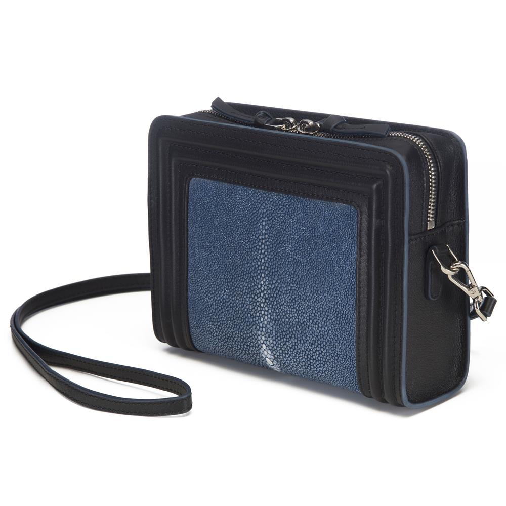 Black Corded Leather Frames Navy Stingray Double Zipper Top Cross Body Bag Front View Nora - Vivo Direct
